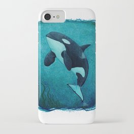 """The Matriarch"" by Amber Marine ~ Orca / Killer Whale (J2 Granny) Watercolor Art, (Copyright 2016) iPhone Case"