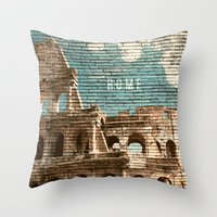 rome Throw Pillows featuring Rome by Snaps Between Naps