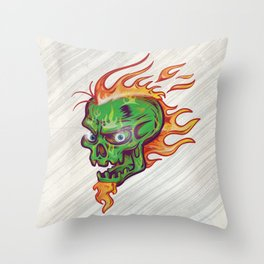 green skull sketch design on white  background with flame Throw Pillow