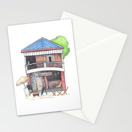 Tropical island restaurant front view travel sketch from Koh Rong island Stationery Cards