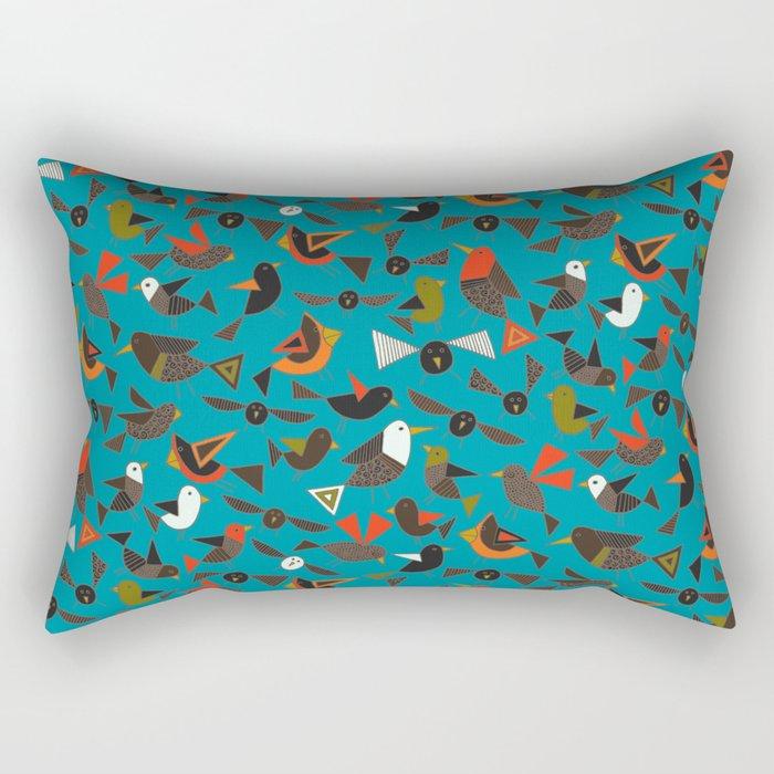 just birds teal blue Rectangular Pillow