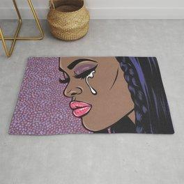 Crying Black Sad Comic Girl Rug