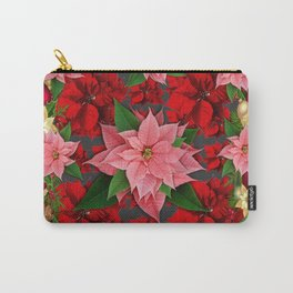 DECORATIVE  RED & PINK POINSETTIAS CHRISTMAS ART Carry-All Pouch