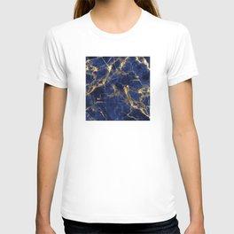 Blue Majestic Marble With 24-Karat Gold Hue Veins T-shirt