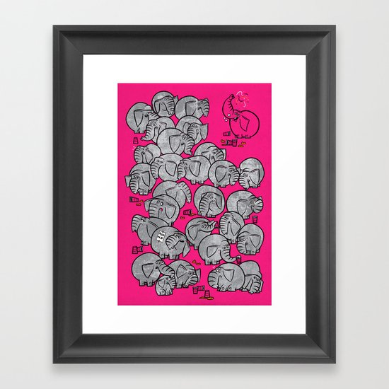 Elephants Never Forget to Party - PINK Framed Art Print