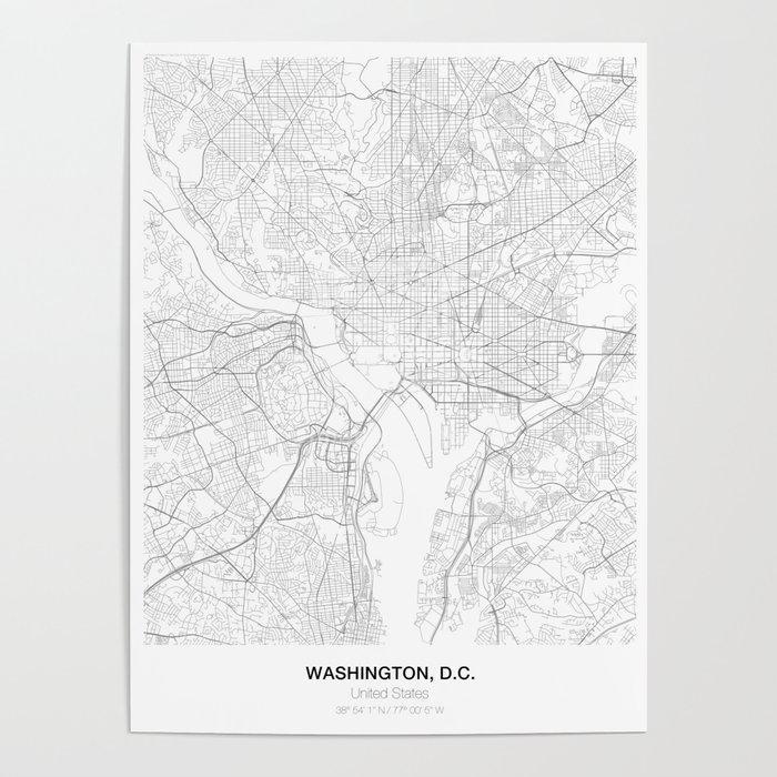 Washington D C United States Minimalist Map Poster By Resfeber