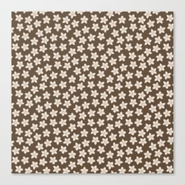 Small Flowers in Cream on Brown Canvas Print