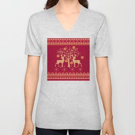 Christmas deer 3,  Christmas deer, Christmas, deer, new year, 2019, 2019, gift, congratulations, red Unisex V-Neck