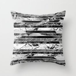 Black And White Layered Collage - Textured, mixed media Throw Pillow