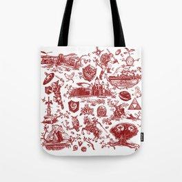 "Zelda ""Hero of Time"" Toile Pattern - Goron's Ruby Tote Bag"