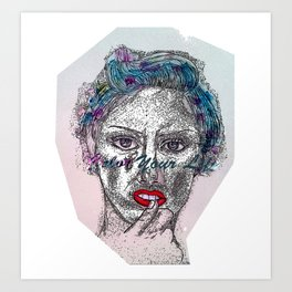 A Colorful Face of An Woman Art Print