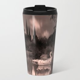 Swan Boats In The Reflection Of Lichfield Cathedral Travel Mug