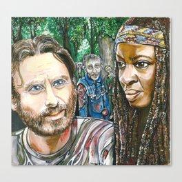 Richonne and 3 random zombies Canvas Print