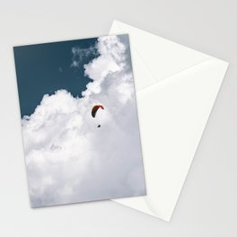 Paraglider on the Cloudy Background Stationery Cards