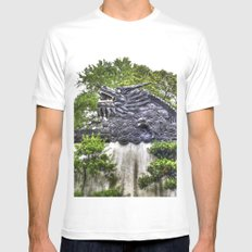 Dragon Rooftop White Mens Fitted Tee SMALL