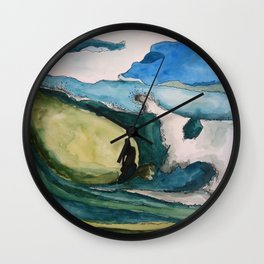 Watercolor Surfer Wall Clock
