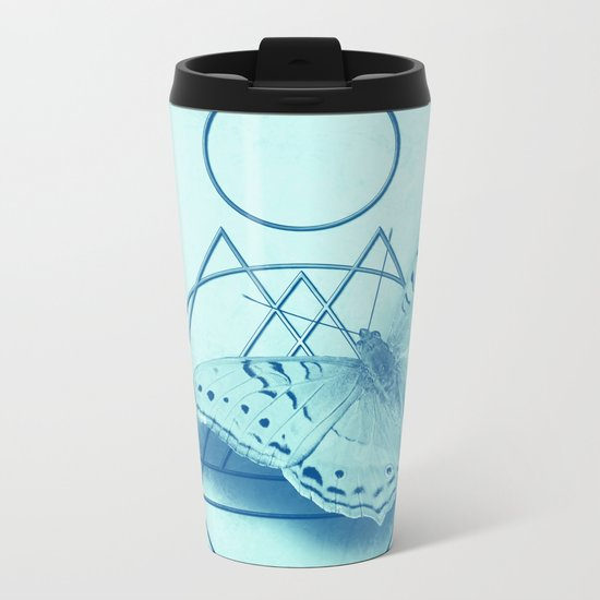 Butterfly in an abstract landscape Metal Travel Mug