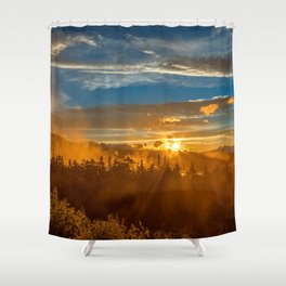 Misty Gold Mountain Sunset Shower Curtain