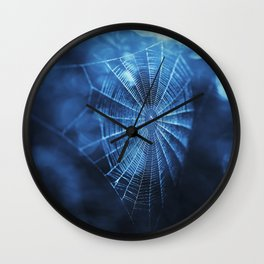 Spider Web in Blue Wall Clock
