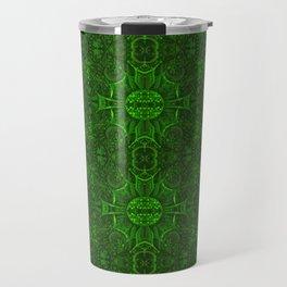 Butterfly Forest Bohemian Arabesque Pattern Emerald Travel Mug