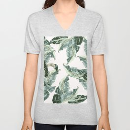 Tropical Banana Leaves Unisex V-Neck
