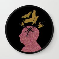 hitchcock Wall Clocks featuring Hitchcock by Ryan W. Bradley