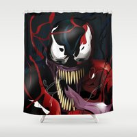 carnage Shower Curtains featuring Maximum Carnage by JHC Studio