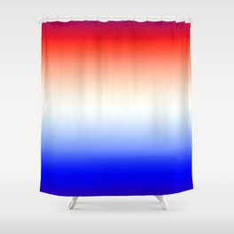 Red White and Blue Merging Gradient Pattern Shower Curtain