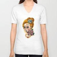 fitzgerald V-neck T-shirts featuring Dia de los Muertos Roses by Cathy FitzGerald