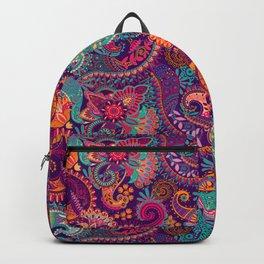 Purple Orange & Teal Floral Paisley Backpack