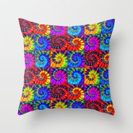Spiral Tie Dye Checkerboard Throw Pillow