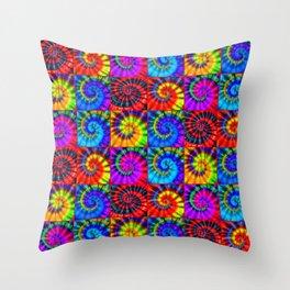 Spiral Tie Dye Checkerboard Throw Pillow