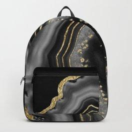 Black Night Agate Gold Foil Glam #2 #gem #decor #art #society6 Backpack
