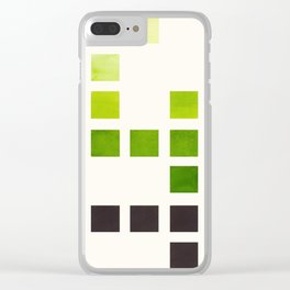 Colorful Minimalist Sap Green Mid Century Modern Minimalist Square Geometric Pattern Clear iPhone Case