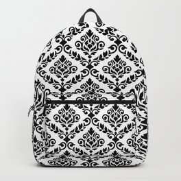 Prima Damask Pattern Black on White Backpack