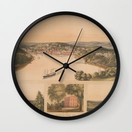 Vintage Pictorial Map of Norwich CT (1854) Wall Clock