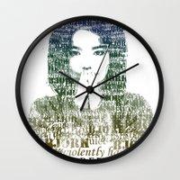 bjork Wall Clocks featuring Bjork Human Behaviour  by b_ethany