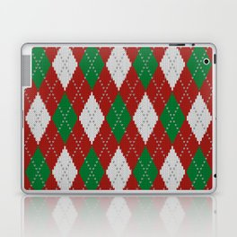 Knitted argyle Christmas sweater pattern on red Laptop & iPad Skin