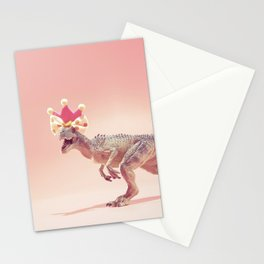 Allosaurus with crown Stationery Cards