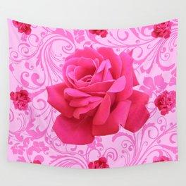 BEAUTIFUL  PINK ROSE SCROLLS GARDEN ART Wall Tapestry