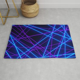 Neon Abstract Line -Blue and Purple, Black- Rug