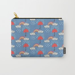 April showers rainbow Clouds Blue #nursery Carry-All Pouch
