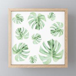 Tropical green leaves on white Framed Mini Art Print