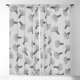 Broccoli Black and White Blackout Curtain
