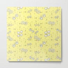 Sunbeam Yellow Baby Animal Tracks Pattern Metal Print