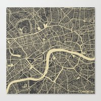 london map Canvas Prints featuring London map by Map Map Maps