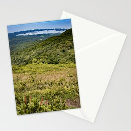 View down the Side of Mombacho Volcano towards Lake Nicaragua with Red Wildflowers Stationery Cards