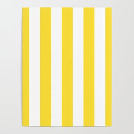 Banana yellow - solid color - white vertical lines pattern Poster