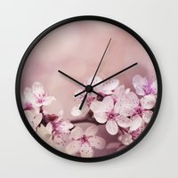 cherry blossom Wall Clocks featuring Cherry Blossom by LebensART Photography