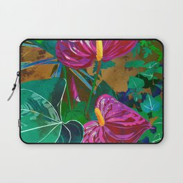 Pink Anthurium Tropical Flower Watercolor Art Laptop Sleeve